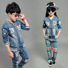 Boys Girls Spring Autumn Denim Clothing Suits England Fashion Cowboy Zipper Jacket+Jeans 2 pieces Children's Clothes 3-15 Years