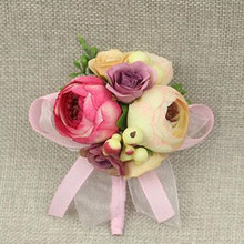 10pcs Fabric Prom Artificial Rose Groom Boutonniere Corsage Flower Wedding Beach Church Decor Purple  Pink Cream