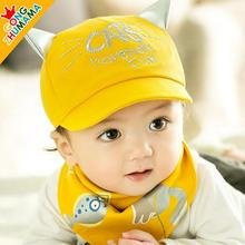 2 pieces/set Kids Cute Cat Soft Brim Baseball Hat Visors Sun Hat Summer Cap +Bibs For 6-24 mouth Child(China)