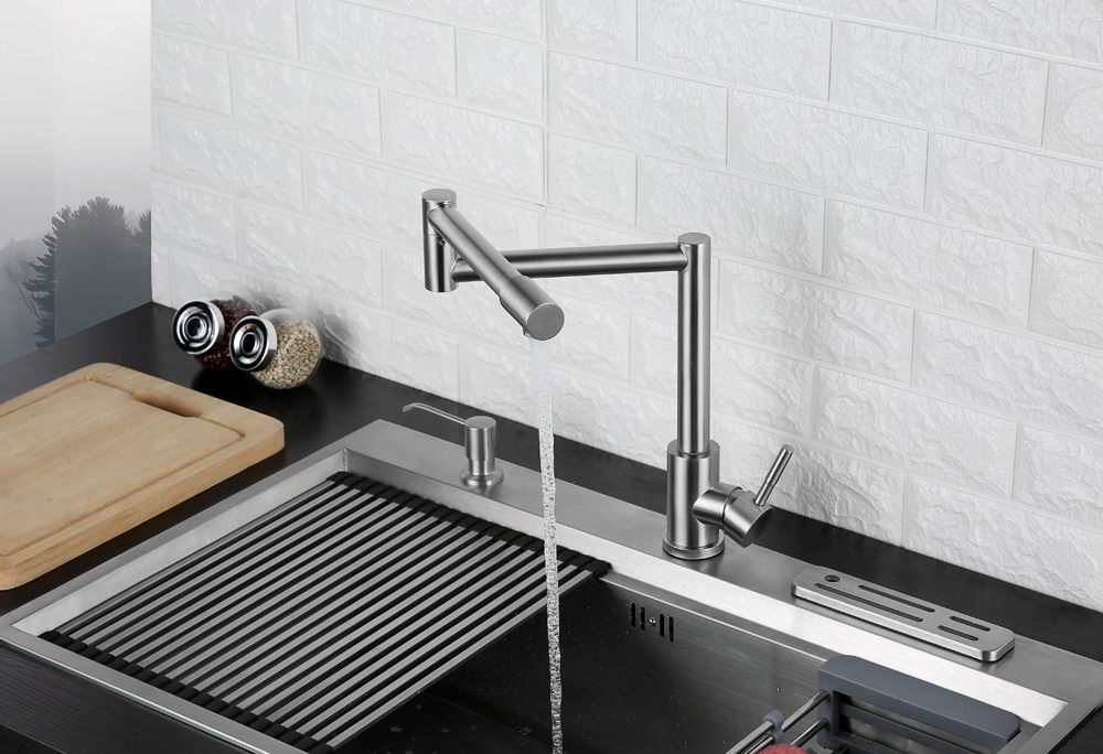 Folding Kitchen Faucet Stretchable Swing Arm Brushed  Single Hole Single Handle Deck Mounted Cold & Hot Kitchen Sink Faucet  (9)