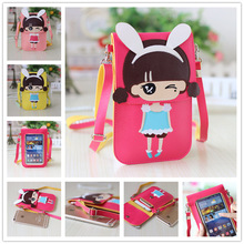 School girls bags cute baby Messenger bag PU Large big screen Mobiles phones bags for teenagers Children inclined shoulder bag