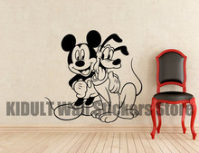 Pluto and Mickey Mouse Cartoon Wall Stickers Children's Bedroom, The Family Room Flat Wall Decor Vinyl Wall Decals Multicolor