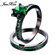 JUNXIN Green Ring Sets New Fashion Wedding Party Green Zircon Rings For Men And Women Black Gold Filled Jewelry Gifts Bijoux
