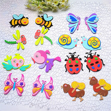 Decorative Sticker Bee/Butterfly/Bird/Dragonfly Insects EVA Sticker Kindergarten Adhensive Wall Sticker Children Craft Material(China)