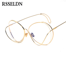 RSSELDN Hollow Out Double Rims Vintage Mens Eyeglasses Frame Women Brand High Quality Metal Optical Glasses Computer Work UV