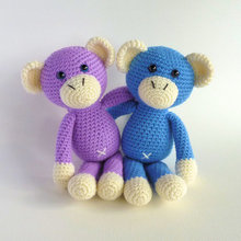 Amigurumi Monkey, Purple Monkey, Cute Crochet Monkey, Plush Toy Monkey, Jungle Animal, Crochet Animal Toy , rattle Monkey