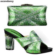 New Arrival Green Color Italian Shoes with Matching Bags Shoes and Bag Set African Sets 2017 Shoe and Bag Set for Party In Women