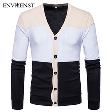 Envmenst 2017 Men Sweater Business Casual Slim Knit Sweater Big V-Neck Single Breasted Patchwork Man Cardigan Sweater(China)
