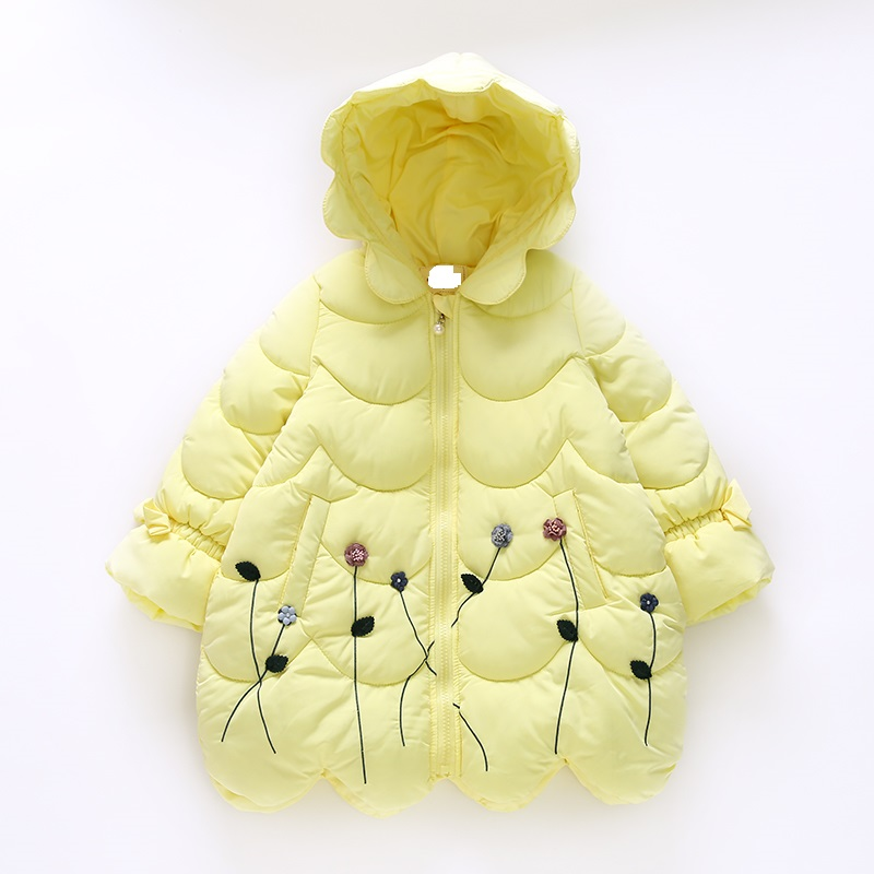 Baby Winter Cotton Padded Clothes Embroidered Girls Childrens Clothing Wadded Jacket Children Warm Cotton Padded Lammy Jacket<br>