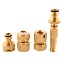 4Pcs/lot Brass Threaded Faucet Hose Water Pipe Tap Connectors Nozzle Snap Adaptor Fitting Garden Outdoors Spray