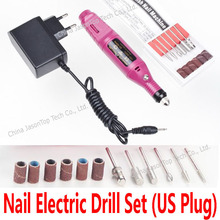 Nail Power Drills Electric Drill Set EU US Adapter Plug Acrylic Gel Remover Machine Manicure Pedicure Cuticle Removing Tools Kit