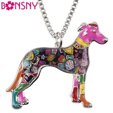 Bonsny Maxi Statement Metal Alloy galgos Greyhound Dog Jewelry Choker Enamel Necklace Chain Collar Pendant Fashion For Women(China)