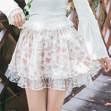 Buy Japanese Rose Floral Print Lolita Tutu Pink Skirt Women Spring Soft Sister Cute Ruffle Tulle Skirts Girl Kawaii Mini Skirt for $24.99 in AliExpress store