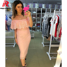 Reaqka Summer Women Sexy lace dress 2017 New Casual Slash neck Off Shoulder sexy pink black elegant party dresses Plus size XXL