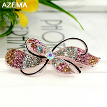 AZEMA 2017 Fashion Brides The magnet clasp Gold Silver Hairpin Crystal Hair Clip Wedding Hair Jewelry Clover Party Accessories(China)