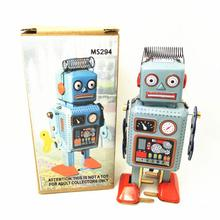 Funny Wind Up Toys Vintage Mechanical Clockwork Wind Up Robot Walking Robot With Key Retro Tin Robot Toys For Children Kids(China)