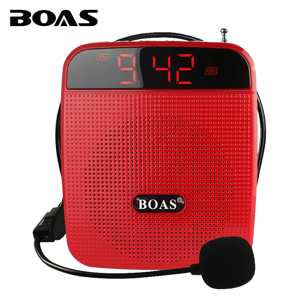BOAS loud speaker teaching microphone voice amplifier FM radio music teacher tour guide megaphone support TF card U disk EU plug<br><br>Aliexpress