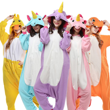 2017 Unicorn Stitch Giraffe Unisex Flannel Pajamas Adults Cosplay Cartoon Animal Onesies Sleepwear Hoodie For Women Men Child(China)