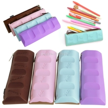 Silicone Chocolate Style Pencil Pen Case Coin Purse Cosmetic Bag Makeup Storage ROF95