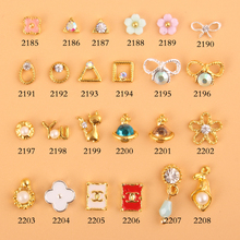 100Pcs 24choices Clear AB Rhinestones Gold Alloy Nail Rings Charm Fashion Design Jewelry DIY Manicure 3d Nail Art 2185-2208(China)