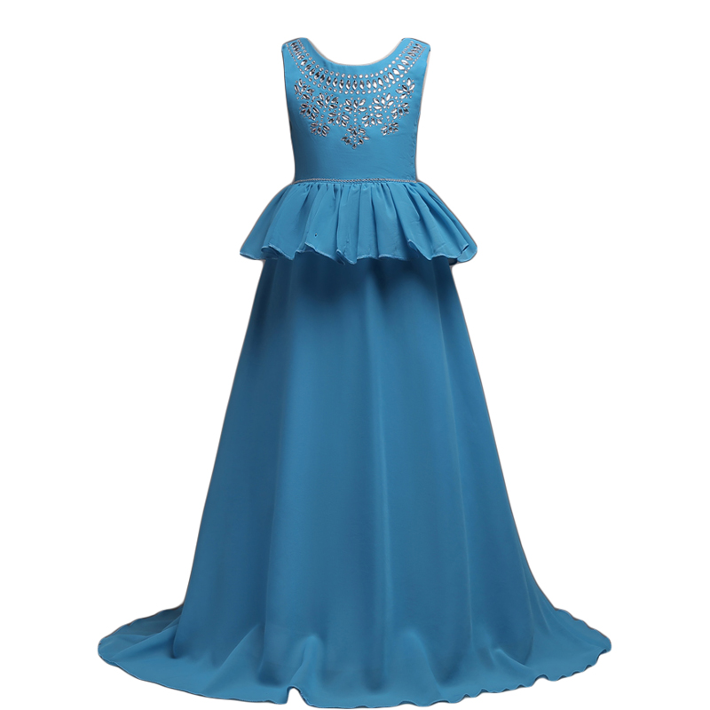 Girls Long Evening Prom Chiffon Dresses 5-16Y Flower Girls Wedding Party Princess Dresses Robe Fille Formal Party Pageant Dress<br>