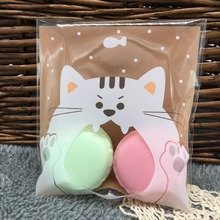 10cm*10cm 50Pcs Pink Cat Big Mouth Cookie Self Adhesive Plastic Packing Bags Candy Bag Biscuit Baked Food Package Pouches(China)