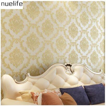 0.53x10m European non - woven wallpaper 3D   thick embossed luxury living room bedroom TV background wallpaper<br>