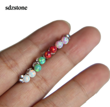 2017 Brand Fire Opal Earrings 4mm Natural Opal Stone ball Stud Earring Anti allergic Ear Piercing 925 sterling silver Jewelry(China)
