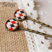 SUTEYI  style printed Cabochon glass tiles hairpins for girls Accessories Simple small bronze hair clips handmade
