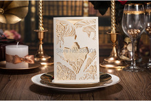 Wedding Invitation card ivory color -- Personalized Elegant Bride and Groom design party Invitation card 50pcs/lot