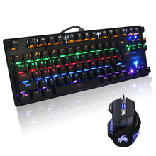 Gaming Mechanical Keyboard 87 Keys LED Backlit Blue Switches Palm Rest+Colorful gaming mouse breathing light 7 buttons 5500DPI