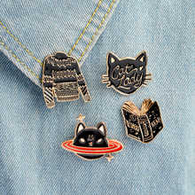 Cartoon Animal Brooch set Black Book Sweater Planet cat Cat lady Pins button Collar pin Anime badges Enamel costume jewelry