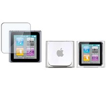 CLEAR CRYSTAL HARD SHELL SKIN CASE COVER AND FREE SCREEN PROTECTOR FOR iPod NANO 6 6th Gen