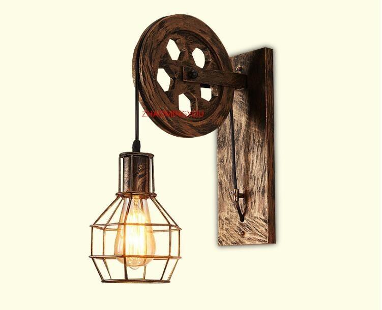 Illuminazione A Parete Per Interni Led : Acquista loft retro lanterne infissi pulley lampada da parete