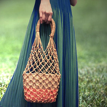 Ins Hot Hollow Out Straw Bag Natural Women Bags Casual Tote Hemp Retro Vintage Knitting Holiday