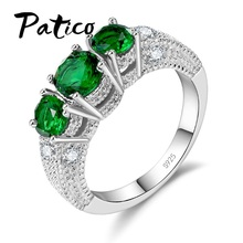 PATICO Fine Dazzling AAA Zircon CZ Crystal Rings Women Girls Wedding Engagement Sterling Silver Jewelry S925 Stamped Gift
