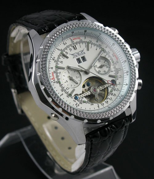 Mens AUTO Mechanical Tourbillon Leather Watches Fashion freeship cool<br>