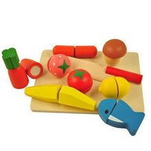 Candice guo! New arrival play house wooden toys colorful emulational vegetable cut fruit and vegetables game children toys(China)