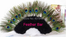 Free shipping 2pcs Black Feather fans Peacock feather fan dance performer Halloween party fan Peacock Fans(China)