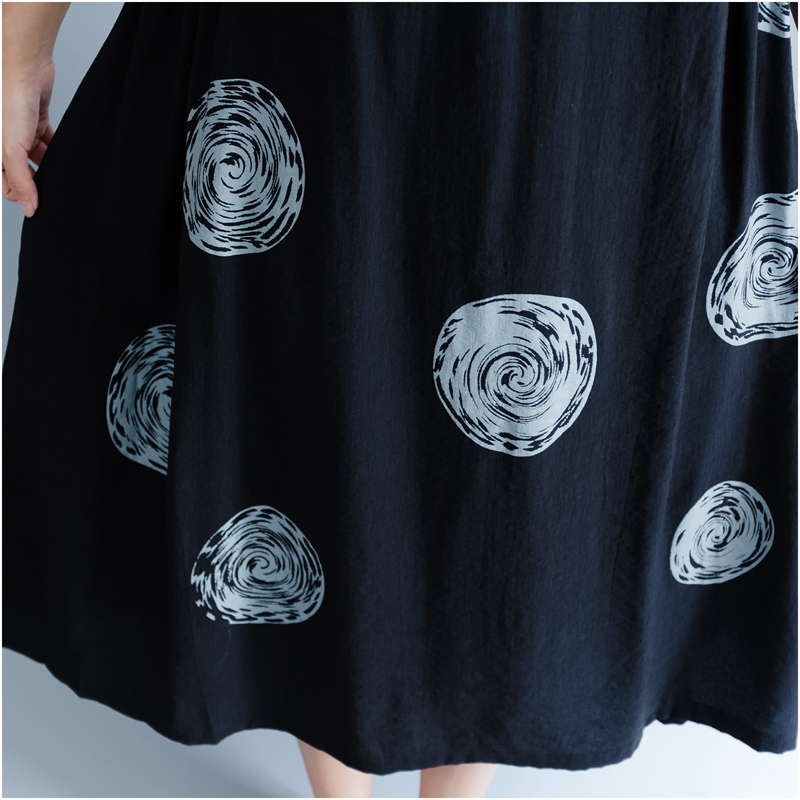 DIMANAF Women Summer Dress Big Size Cotton Linen Casual Soft Style Black Polka Dot Oversized Loose Female Sundress Clothing 2018 23