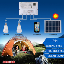 Portable LED Outdoor Solar Lights System Kit Waterproof 2 Bulbs Mobile Phone Power Bank Rechargable Battery Camping Lighting(China)