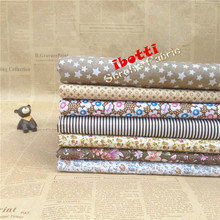 ibotti 7pcs 50x50cm  Brown floral stars stripe 100% Cotton Fabric  Sewing Tilda Doll Cloth DIY Quilting Patchwork Tissue Textile
