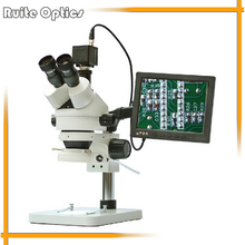 Trinocular 7x-45x Zoom Stereo Microscope w/ LED Ring Light CCD Electronic Eyepiece 8 Inch Display Screen 0.5X Auxiliary Lens(China)