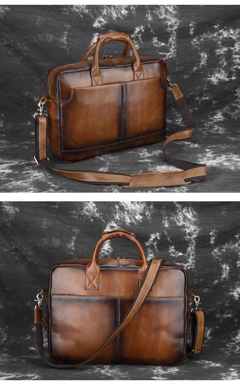 Brand Vintage Brushed Off Genuine Cow Leather Business Briefcase Men's Handbag Shoulder Messenger Bag 14″ Laptop Computer Pack