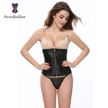 2835# High quality wholesale price wiast slimming corset belt zipper front Black Waist Cincher with G string(China)