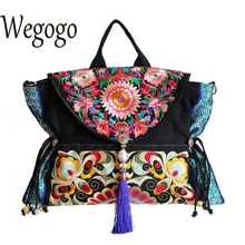 Wegogo Women Handbag Chinese Boho Thai India Embroidery Floral Handmade Tassel Shoulder Messenger Bag Shoulder Canvas Travel Bag(China)