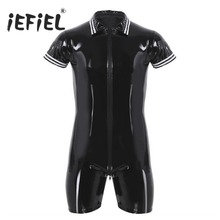 Buy iEFiEL Mens Latex Wetlook Sexy Lingerie Clubwear Patent Leather Front Zipper Boxer Shorts Leotard Bodysuit Costumes Bodystocking