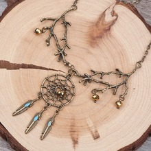 DoreenBeads New Fashion Vintage Necklace Link Cable Chain Antique Bronze Glass Orange Beads Branch Dreamcatcher Pendant