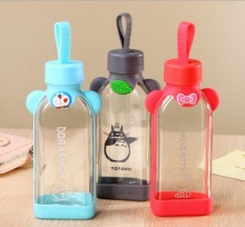 350ml Cute Cartoon Glass Water Bottle With Rope Novelty Water Glass Portable Sports Outdoor Water bottles