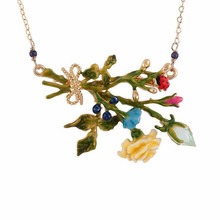 Amybaby France Pairs Les Nereides Oriental Rose Blue And Yellow Flowers Tassel Womens Luxury Necklace Crystal Jewelry(China)